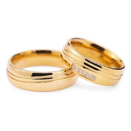 """Золотые обручальные кольца с бриллиантами """"VKA 128"""""""