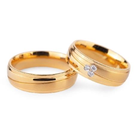 """Золотые обручальные кольца с бриллиантами """"VKA 132"""""""
