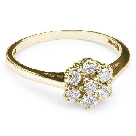 """Золотое кольцо с бриллиантами """"Бриллиантовый цветок 7"""""""