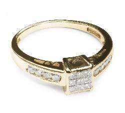 """Золотое кольцо с алмазами """"Принцессы 4"""""""