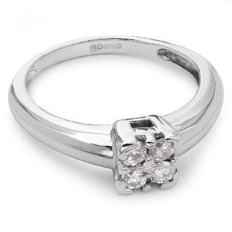 """Saderināšanās gredzens ar briljantu """"Briljanta zieds 8"""""""