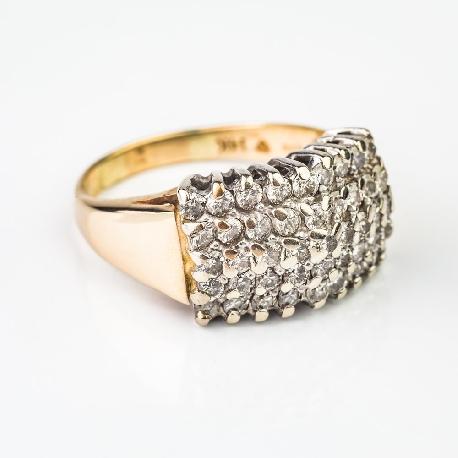 """Zelta gredzens ar briljantiem """"Briljantu pušķis 4"""""""