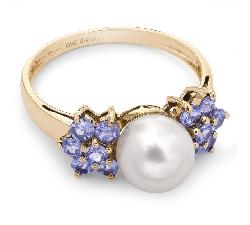 """Золотое кольцо с драгоценными камнями """"Молодая 3"""""""