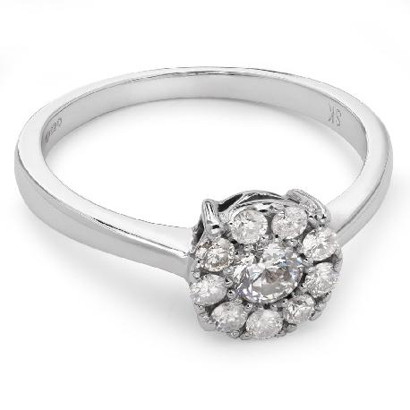 """Золотое кольцо с бриллиантами """"Бриллиантовый цветок 10"""""""