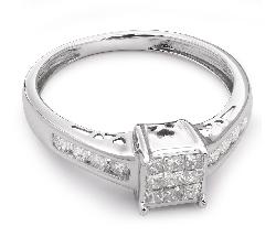 """Помолвочное кольцо с алмазами """"Принцессы 13"""""""