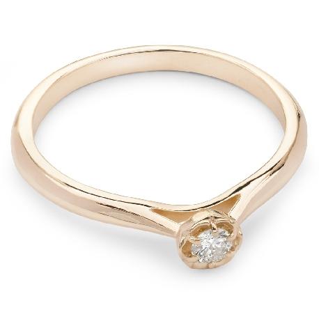 """Помолвочное кольцо с бриллиантом """"Бриллиантовый цветок 13"""""""