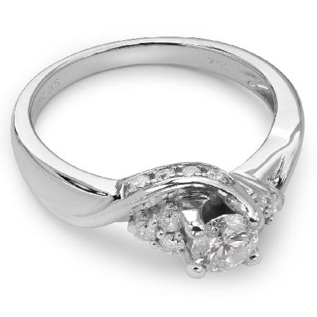 """Помолвочное кольцо с бриллиантом """"Бриллиантовый цветок 14"""""""