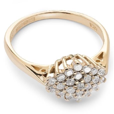 """Помолвочное кольцо с алмазами """"Бриллиантовый цветок 15"""""""