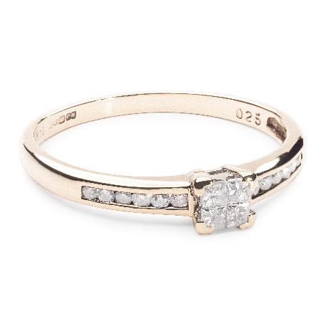 """Помолвочное кольцо с алмазами """"Принцессы 16"""""""