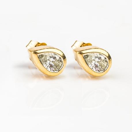"""Золотые серьги с алмазами """"Классика 44"""""""