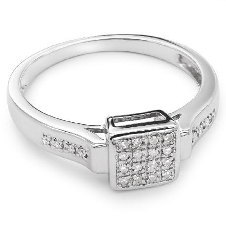 """Помолвочное кольцо с алмазами """"Принцессы 22"""""""