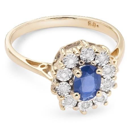 """Zelta gredzens ar dārgakmeņiem """"Safīrs 6"""""""