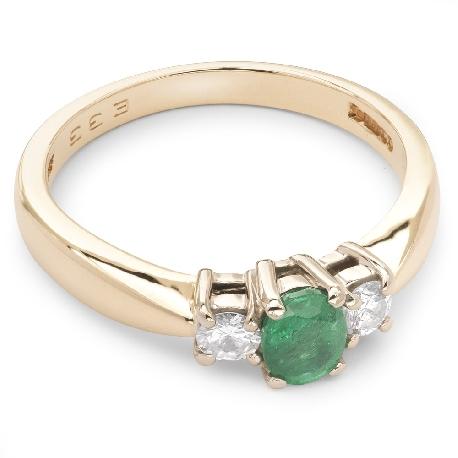 """Золотое кольцо с драгоценными камнями """"Изумруд 9"""""""