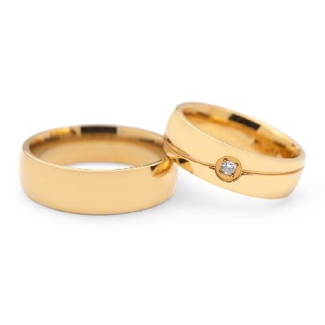 """Золотые обручальные кольца с бриллиантами """"VKA 120"""""""