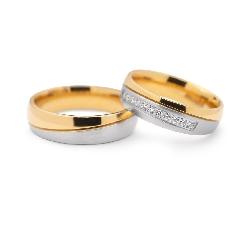 """Золотые обручальные кольца с бриллиантами """"VKA 110"""""""
