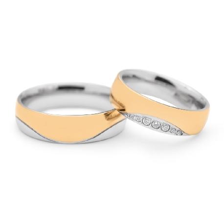 """Золотые обручальные кольца с бриллиантами """"VKA 097"""""""
