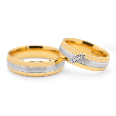 """Золотые обручальные кольца с бриллиантами """"VKA 096"""""""