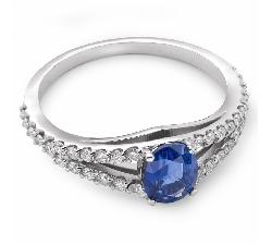 """Zelta gredzens ar dārgakmeņiem """"Safīrs 7"""""""