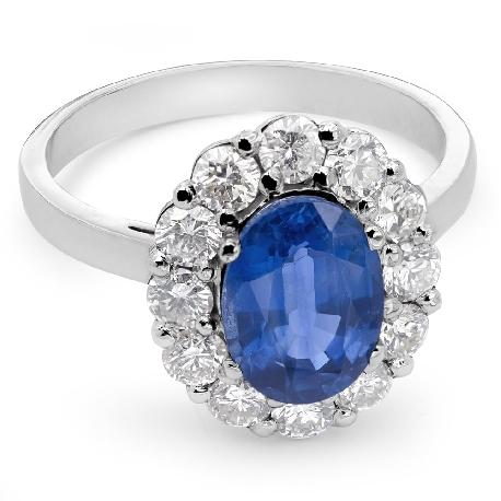 """Zelta gredzens ar dārgakmeņiem """"Safīrs 8"""""""