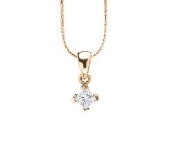 """Золотой кулон с алмазом """"Принцесса 14"""""""