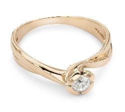 Золотое кольцо с бриллиантом Вихрь 5