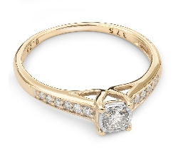 """Zelta gredzens ar dimantiem """"Graciozitāte 39"""""""