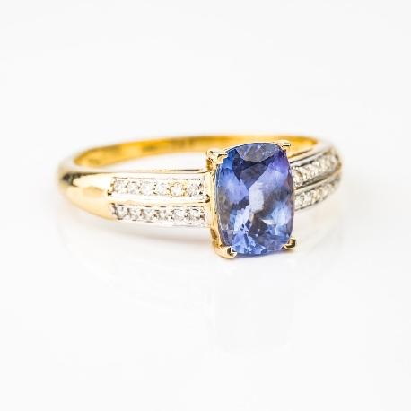 """Золотое кольцо с драгоценными камнями """"Краски 4"""""""