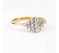 """Auksinis žiedas su Briliantais """"Gėlė"""""""