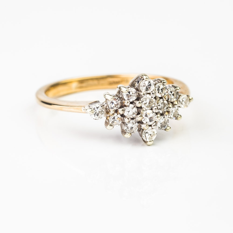 """Золотое кольцо """"Бриллиантовый цветок"""""""