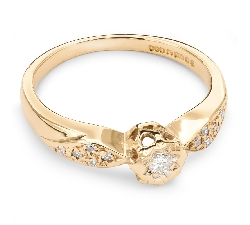 """Zelta gredzens ar Dimantiem """"Graciozitāte 28"""""""