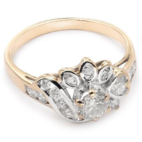"""Золотое кольцо с Aлмазами """"Корона 9"""""""