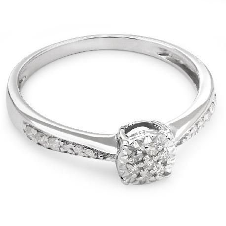 """Zelta gredzens ar briljantiem """"Graciozitāte 48"""""""