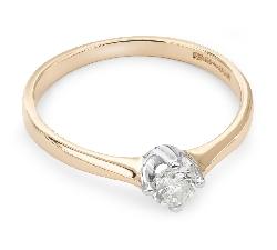 """Золотое кольцо с  бриллиантом """"Прочность 46"""""""