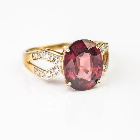 """Золотое кольцо с драгоценными камнями """"Краски 55"""""""