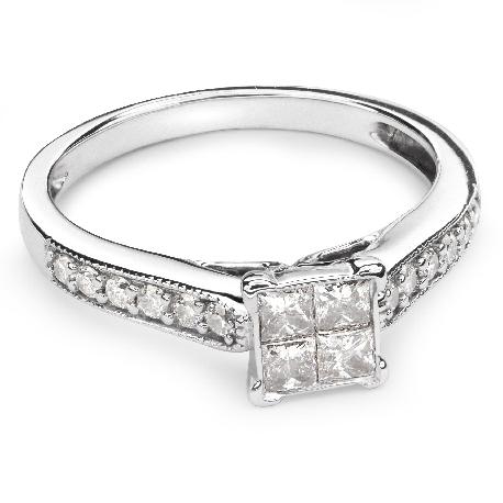 """Помолвочное кольцо с алмазами """"Принцессы 33"""""""