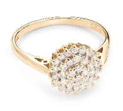 """Золотое кольцо с Бриллиантами """"Бриллиантовый цветок 19"""""""
