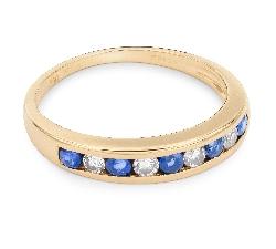 """Zelta gredzens ar dārgakmeņiem """"Safīrs 12"""""""