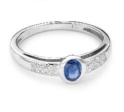 """Zelta gredzens ar dārgakmeņiem """"Safīrs 13"""""""