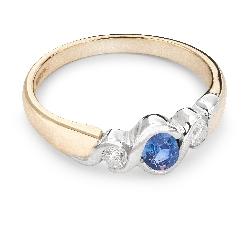"""Zelta gredzens ar dārgakmeņiem """"Safīrs 14"""""""