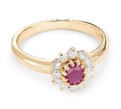 """Zelta gredzens ar dārgakmeņiem """"Rubīns 10"""""""