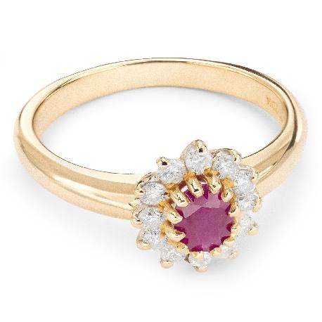 """Золотое кольцо с драгоценными камнями """"Рубин 10"""""""