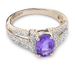 """Zelta gredzens ar dārgakmeņiem """"Krāsas 27"""""""