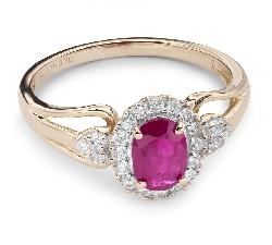 """Zelta gredzens ar dārgakmeņiem """"Rubīns 11"""""""