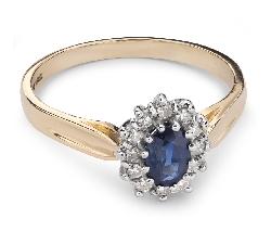 """Zelta gredzens ar dārgakmeņiem """"Safīrs 19"""""""