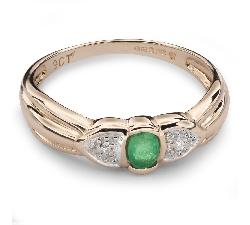 """Золотое кольцо с драгоценными камнями """"Изумруд 14"""""""