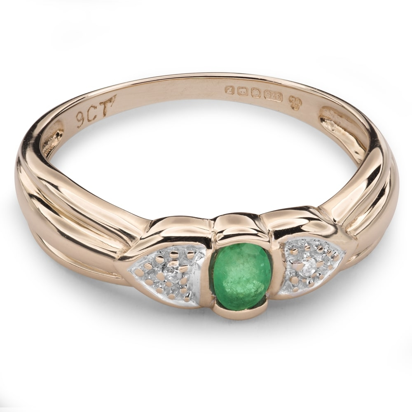 """Zelta gredzens ar dārgakmeņiem """"Smaragds 14"""""""