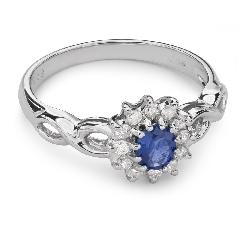 """Золотое кольцо с драгоценными камнями """"Сапфир 20"""""""
