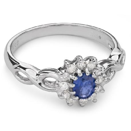 """Zelta gredzens ar dārgakmeņiem """"Safīrs 20"""""""