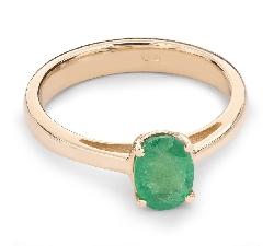 """Zelta gredzens ar dārgakmeņiem """"Smaragds 16"""""""