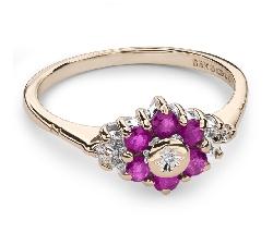 """Золотое кольцо с драгоценными камнями """"Краски 53"""""""